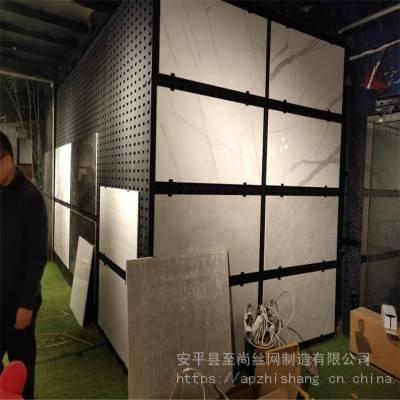 800瓷砖冲孔板钩子 方孔展柜 网孔板展示架生产厂家