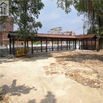 古秀生产 防腐木长廊 碳化木走廊 园林景观仿古回廊