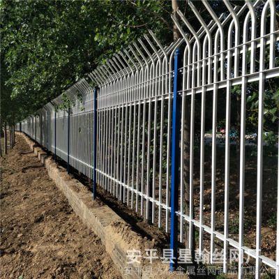 厂家直销市政园林景观花园穿插式方管喷塑锌钢铁艺防护栏