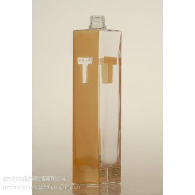 玻璃瓶厂定制生产晶质料玻璃酒瓶可蒙砂电镀喷漆烤标印logo