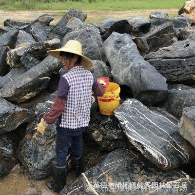 矿山直销广东英德白筋纹太湖石 形状好 颜色黑 石质硬 规格齐全 价格优惠