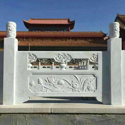 石栏杆 草白玉栏杆定制厂家找曲阳县聚隆园林雕塑