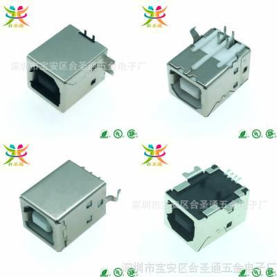 立贴/USB 2.0 B母-4P/180°立式贴片插座带定位柱黑胶铜壳B母立贴
