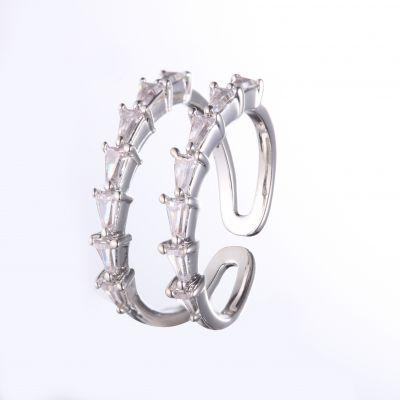 伊泰莲娜镶锆石电镀铜戒指 铜银首饰批发 承接来图来样首饰加工 番禺跨境饰品厂