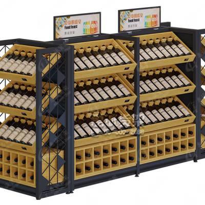 超市红酒货架展示架酒庄酒行白酒葡萄酒木质酒架展柜陈列柜-惠诚货架