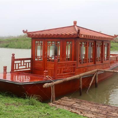 公园观光船 湿地景区电动观光船 四川广元厂家直销6米电动观光木船 戴氏木船