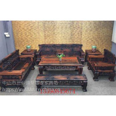 老船木沙发实木沙发茶几功夫泡茶台客厅中式沙发