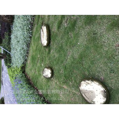透光鹅卵石不锈钢雕塑,绿地镜面镂空不锈钢石头摆件图片