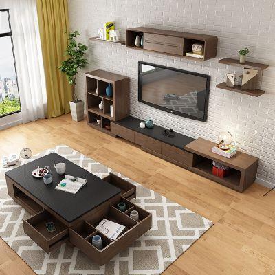 北欧简易茶几电视柜现代简约可收纳火烧石桌面茶几电视柜组合套装