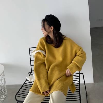 秋冬装韩版纯色新款百搭宽松半高领套头针织衫打底长袖毛衣毛衫女