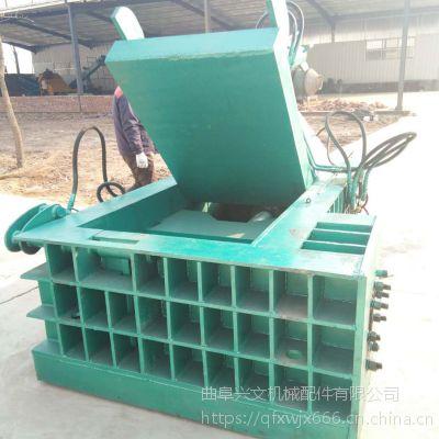 金属液压打包机兴文现货供应卧式压块机金属边角料自动推包压块机