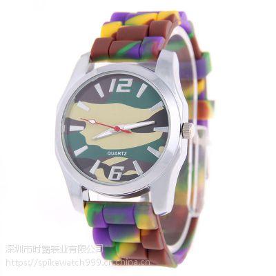 外贸热销SPIKE新款时尚个性迷彩硅胶礼品手表