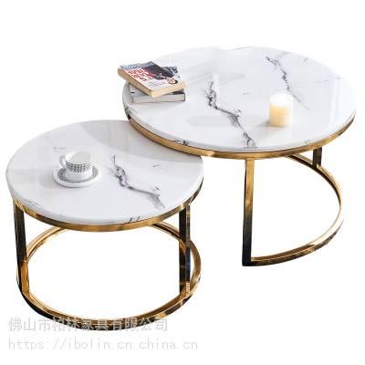 供应现代简约轻奢不锈钢大理石客厅茶几,网红客厅配套小茶几