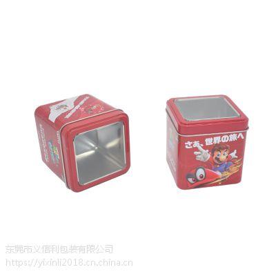 义信利f75正方形开窗巧克力豆铁盒 定制糖果休闲食品包装盒 马里奥周边玩具手办铁罐