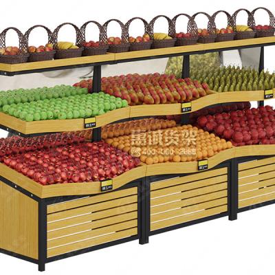 水果货架、展示架菜架、果蔬架高档超市木质水果架子、水果店货架、蔬菜架-惠诚货架