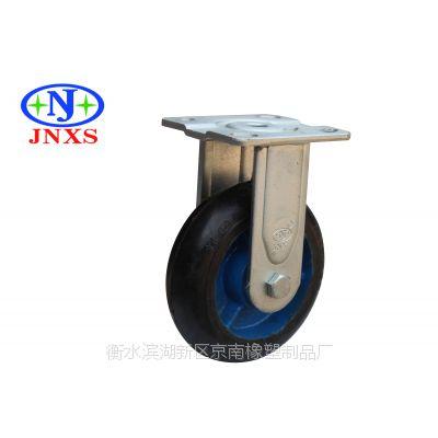 厂家直销 京南橡塑 6寸黑色GTL高弹力橡胶脚轮万向定向刹车轮