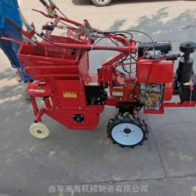 柴油一体小型玉米收获机 澜海牌自走式单排摘玉米机苞米收集机
