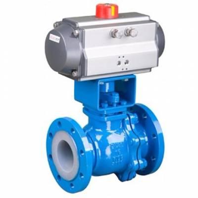 可诺泵阀FQ641F46气动衬氟放料球阀结构图