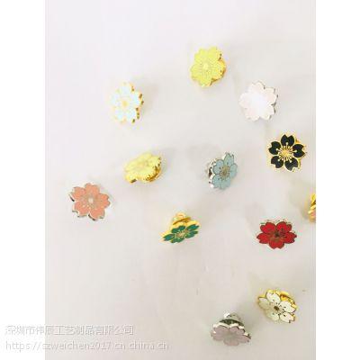 韩版花朵徽章定制,铁质胸章生产,广西樱花胸针制作厂