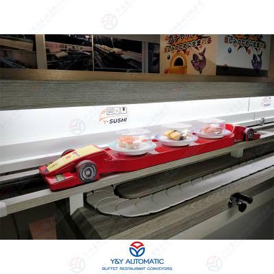 智慧餐厅轨道餐车输送设备_智能定位输送模型车送餐设备_广州昱洋专业定制