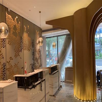 三元里亚朵酒店大堂包柱树木造型铝单板-背景墙冲孔透光铝板新款产品