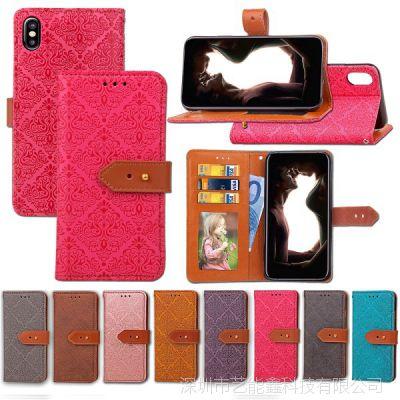 IPHONE X 8G 7G 6S 8/7/6PLUS S8/PLUS S7欧式壁花相框钱包皮套