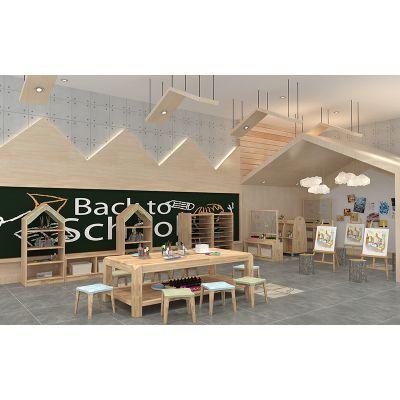 幼儿园家具实木美术桌游戏桌儿童学习桌椅绿森堡厂家定做