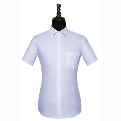 贵州男衬衣定制,免烫高端短袖男衬衣,行政商务衬衫订做批发,GY5077D白色全棉成衣