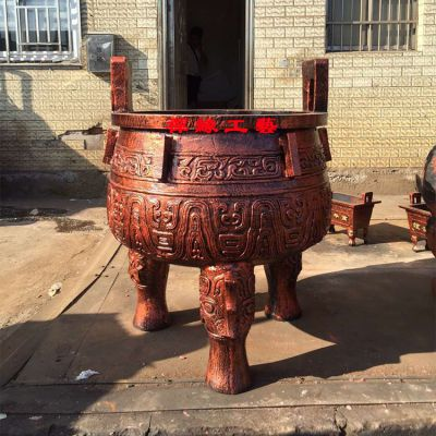 寺庙寺院圆形平口香炉/祠堂宗祠铸铁香炉供应商