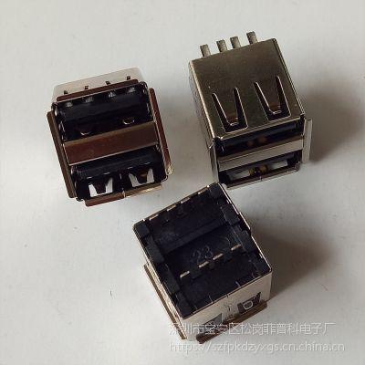 USB AF2.0双层母座 180度焊线式 短体 卷边 黑胶