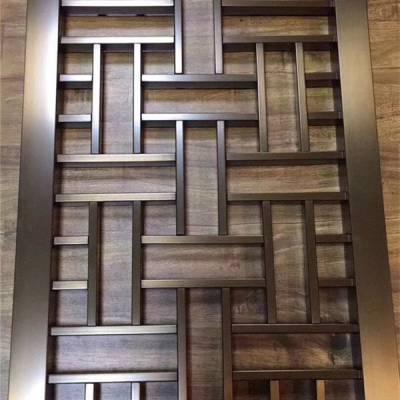 家居装修进门大厅中式不锈钢隔断 304黑钛金拉丝现代复古风格屏风