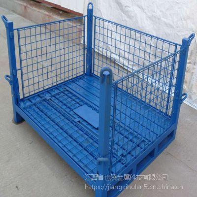 山东仓储笼叉车笼 折叠铁箱 金属料箱折叠式仓储笼手推车