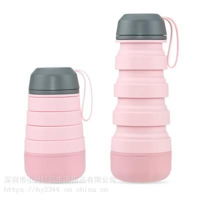 户外旅行硅胶水瓶折叠创意伸缩杯大容量运动水壶登山便携杯水瓶