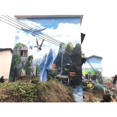 电视背景墙墙绘-橙与蓝-厦门墙绘
