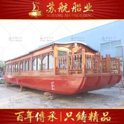 定制加工三层大型画舫船 水上豪华款观光二手木制画舫船
