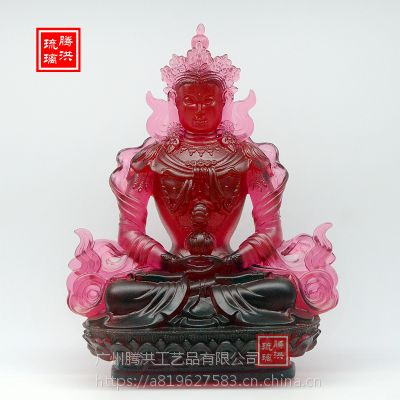 长寿佛琉璃佛像定制红色琉璃长寿佛寺庙供奉