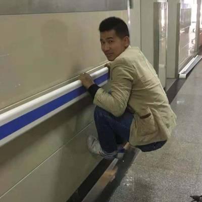 医院pvc靠墙走廊扶手批发 养老院幼儿园墙壁走廊铝合金安全防撞扶手程益防护