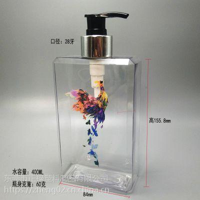 洗发水PET瓶子400ml 方型洗浴用品塑料瓶 中药养发洗发水高档瓶子