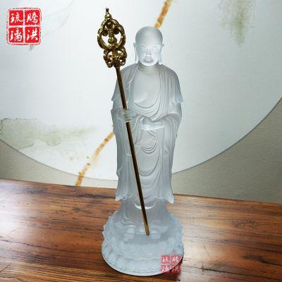 白色地藏王菩萨佛像 九华山古法琉璃佛像10吋地藏王佛像制作批发
