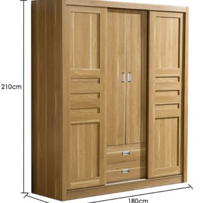 推拉门简约成人趟门衣柜 超大容量组合板式衣柜 四门木质移门衣柜