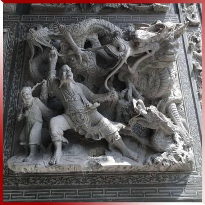 青石浮雕一平方价格多少 降龙罗汉伏虎罗汉人物浮雕壁画石材加工图