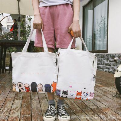 日系原创印花百搭简约街拍潮流单肩包帆布袋购物包学院风女学生包