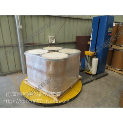 纤维纸板桶缠绕膜包装机 省膜 省人工 220V电 山东喜鹊
