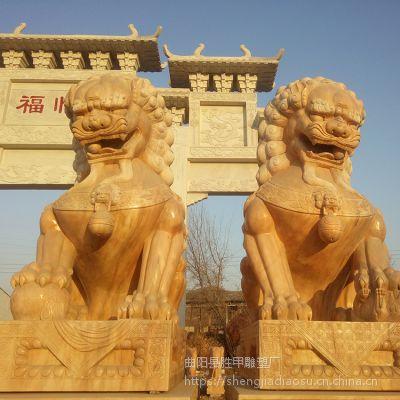 大型 晚霞红 石雕狮子 仿天安狮子 广场园林景观雕塑 石狮子价格 定做