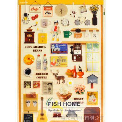 韩国Sonia透明PVC装饰贴DIY贴纸cafe咖啡馆