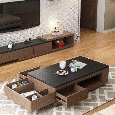 北欧简易茶几电视柜 现代简约茶几电视柜组合套装火烧石