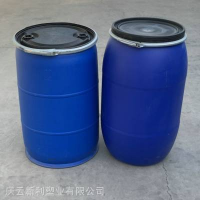 两款大口200L塑料桶 圆柱型200KG塑料桶带铁箍大盖带两个小盖桶 200升塑料桶