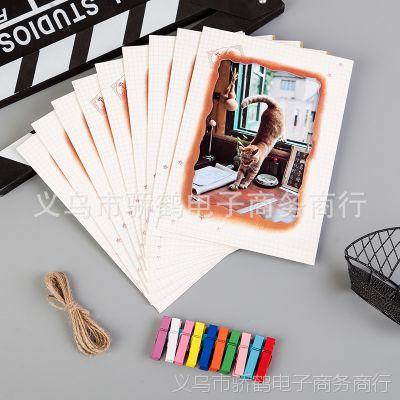 7寸火烧9张创意DIY照片墙组合纸相框悬挂精美照片夹子和麻绳