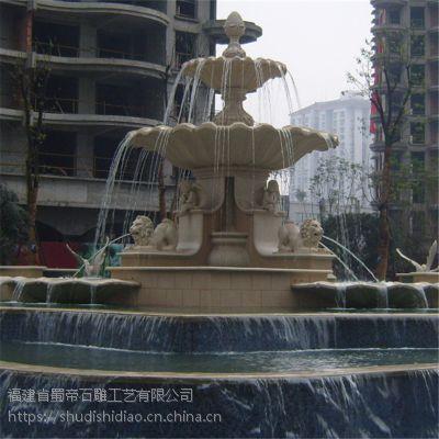 福建石雕厂定制酒店别墅庭院欧式石头喷泉 公园广场大理石喷泉