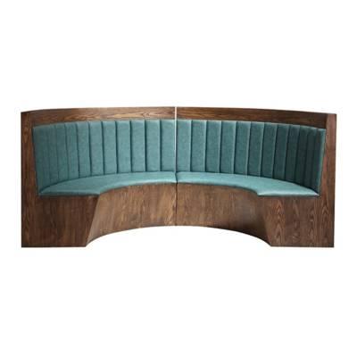 中餐馆实木贴皮油漆半圆形卡座沙发